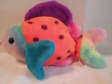 """Ty Beanie Buddies Collection Lips The Fish Retired 1999 Multi Color Rainbow 13"""""""