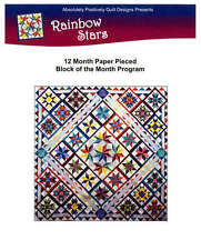 RAINBOW STARS COMPLETE SET QUILTING PATTERN, Block Of The Month- All 12 Months!