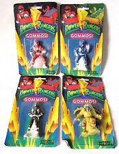 """GIOCHI PREZIOSI 1993 POWER RANGERS """"GOMMOSI"""" SET COMPLETO DI 4I!!NUOVI!!"""