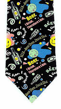 Smiley Beer Face Mens Neck Tie Alcohol Funny Drinking Fun Silk Gift Necktie New