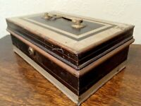 Antique Painted Metal Strong Cash Box with Bramah Lock and Lift Out Tray