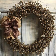 """18"""" Primitive Country Grapevine Wreath Or Centerpiece W/pip Berries"""