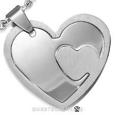 Kettenanhänger Herz, zweiteilig, Edelstahl Neu