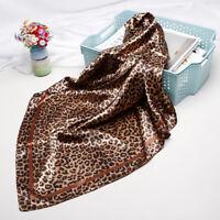 "Brown Leopard Print Scarf Women Fashion Square Scarves Soft Shawl Hijab 35""*35"""