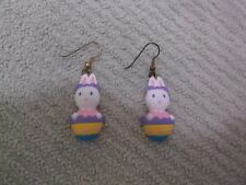 Vintage GGT Signed Easter Bunny In An Egg Plastic Dangle Pierced Earrings
