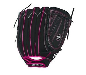 Wilson Flash Baseball Right Hand Throw Gloves - Black/Hot Pink - Size 8-12 NEW