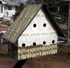 Primitive Hand Tooled Antique Ceiling Tin Tile Wren Bird House Usa Chic Fleur De