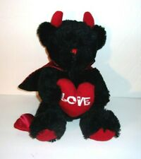 "Walmart Plush Black Teddy Bear Red Devil Horns Cape Heart Love Tail 10"""