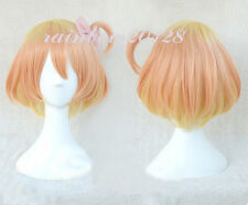 Orange Mixed Blonde Super Macross Delta Wion Freyja  Cosplay Wig + 1 Pink Bow