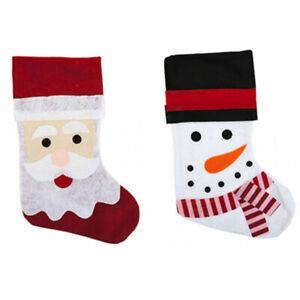CHRISTMAS CHARACTER STOCKINGS SANTA AND SNOWMAN