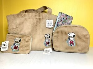 PEANUTS SNOOPY Corduroy Cotton bag Purse ,Wallet, Phone  Case Beige Japan NWT