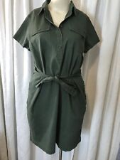 Izod Army Green Short Sleeve Shirt With Pocket Dress Women Plus Size 2x