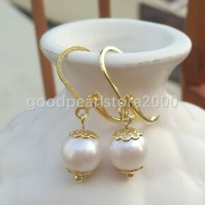 AAA natural 9-9.5MM south sea round white pearl earrings 14K GOLD for wedding