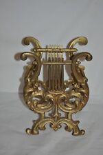Vintage Gold Wrought Iron Magazine Rack Lyre Design Ornate Free Shipping