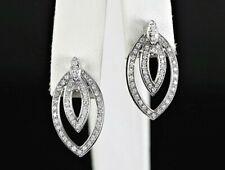 $2,400 SJ 14K Solid White Gold 0.75ct Round Diamond Marquise Shape Stud Earrings