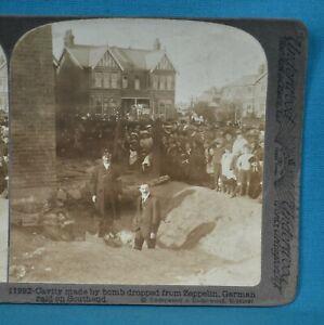 WW1 Stereoview Photo German Raid On Southend Zeppelin Bomb Damage Underwood