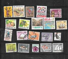 SINGAPORE 20 DIFFERENT POSTALLY USED STAMP COLLECTION LOT SET PACKET W large