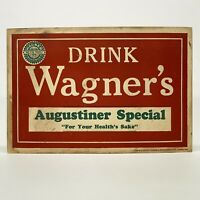 Prohibition Era Beer Cardboard Sign August Wagner & Sons Products Columbus OH