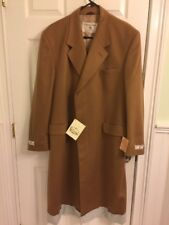 NEW Crombie Overcoat Pure Wool Camel Retro Coat 44R English Topcoat Beige Jacket