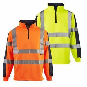Hi Vis Viz Two Tone Rugby Shirt Sweatshirt Safety Security Work Wear Jumper