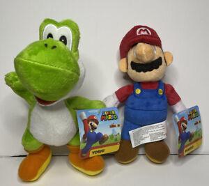 "8"" Mario Yoshi Nintendo Super Mario Bros Plush Stuffed Toy NEW NWT Lot"