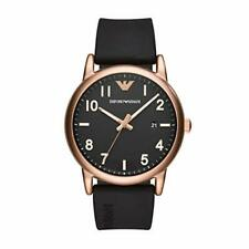 Emporio Armani Men's Rose Gold Stainless Steel Black Silicone Watch 43mm AR11097