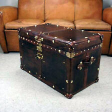 Antique Leather Trunk Leather Brown Finest with Key Leather Box handmade gift