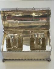 Antique Inkwell Chest with 2 Wells Inside   Silver plated Great Condition