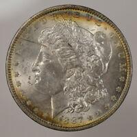 1887 $1 MORGAN SILVER DOLLAR * NICE ORIGINAL LIGHT RAINBOW TONING * LOT#D387