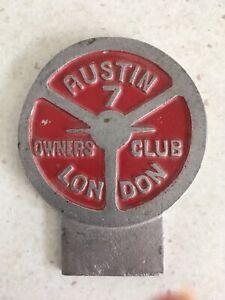 Austin 7 Owners Club London Badge - Fully Original Piece.