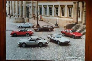 USED ORIGINAL PORSCHE 911SC 928 924 DEALER 6-FOLD COLOR POSTER BROCHURE 1980