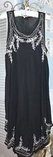 NEW~ Plus Size 3X 2X 1X Black White Embroidered Midi Boho Sun Dress