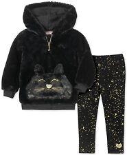 Juicy Couture Little Girls 2-Pc. Cat Faux-Fur Hoodie & Printed Leggings Set