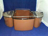 Vintage Brown Enamelware Nesco Roaster Oven Lift Insert Pan Nesting Pans