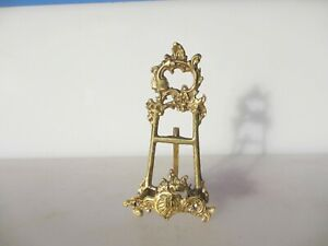 """Brass Easel Picture Stand Plate Holder Rack Display Antique French Rococo 6.5""""H"""