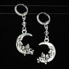 *SJ1* Crescent Moon Angel Sterling Silver Dangle Earrings w/ Swarovski Crystal