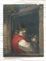"Antique Colored Etching Titled ""A Toper"" Dutchman Drinking Ale Wine Rustic Frame"