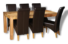 MANHATTAN LIGHT 180CM DINING TABLE AND 6 BROWN ROLLBACK CHAIRS (H12L&6A1LR)