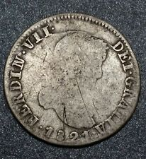 1821 A.Z. Mexico 2 Reales Spanish Colony Milled Bust Ferdinand VII Silver Coin