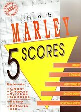 BOB MARLEY - 5 SCORES partition guitare, chant, basse, batterie, synthés