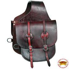 Horse Western Saddle Bag Heavy Duty Leather Cowboy Trail Dark Brown U-G119