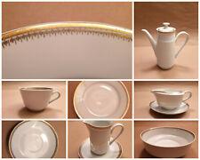 kleiner Teller Kaffeetasse Kahla DDR weiß Goldrand Goldmuster 2 Varianten 60er