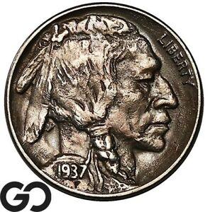 1937-D Buffalo Nickel, 3 Legged, Choice AU++ Collector Favorite Key Date ERROR!