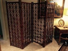 Mid Century/Regency  Japanese teak wood folding screen room divider