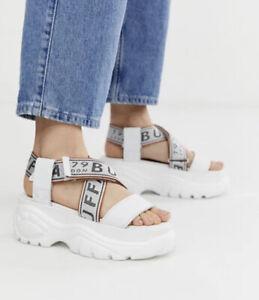 Buffalo BO Leather Synthetic Adjustable Strap Platform Wedge Casual Sandals Sz 5