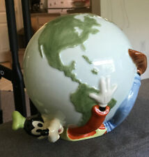 VINTAGE GOOFY WRAPPED AROUND THE WORLD WALT DISNEY PIGGY BANK NEVER USED