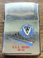 More details for zippo lighter uss halsey united states ship cg-23 vintage 1985 navy used