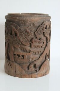 Box IN Tea IN Bamboo Carved Pattern Village Temple Xixth Antique Chinese