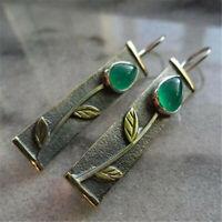 Boho Vintage 925 Silver Pear Cut Emerald Leaves Ear Hook Dangle Woman Earrings