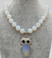 """Pretty Round 10mm Faceted Moonstone Opal Gems Necklaces + Owl Pendants 18"""""""